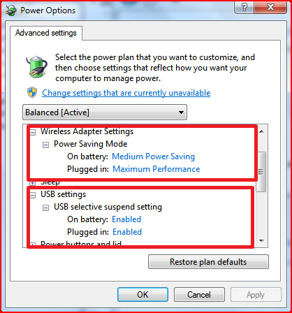 how to change power settings surface