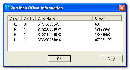 Partition Offset Information