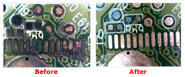 clean corrosive spots on HDD PCB